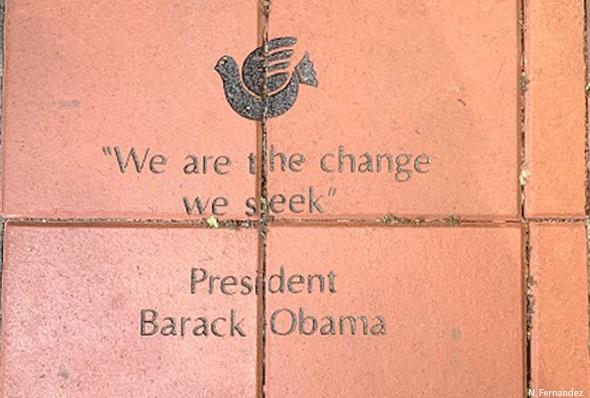 Obama Quote in brick