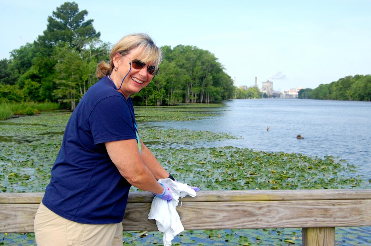Domtar volunteer Kelly takes in the sights from the boardwalk