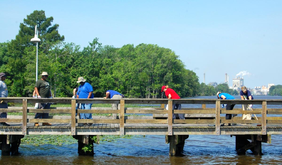 Volunteers on the boardwalk in Plymouth, North Carolina