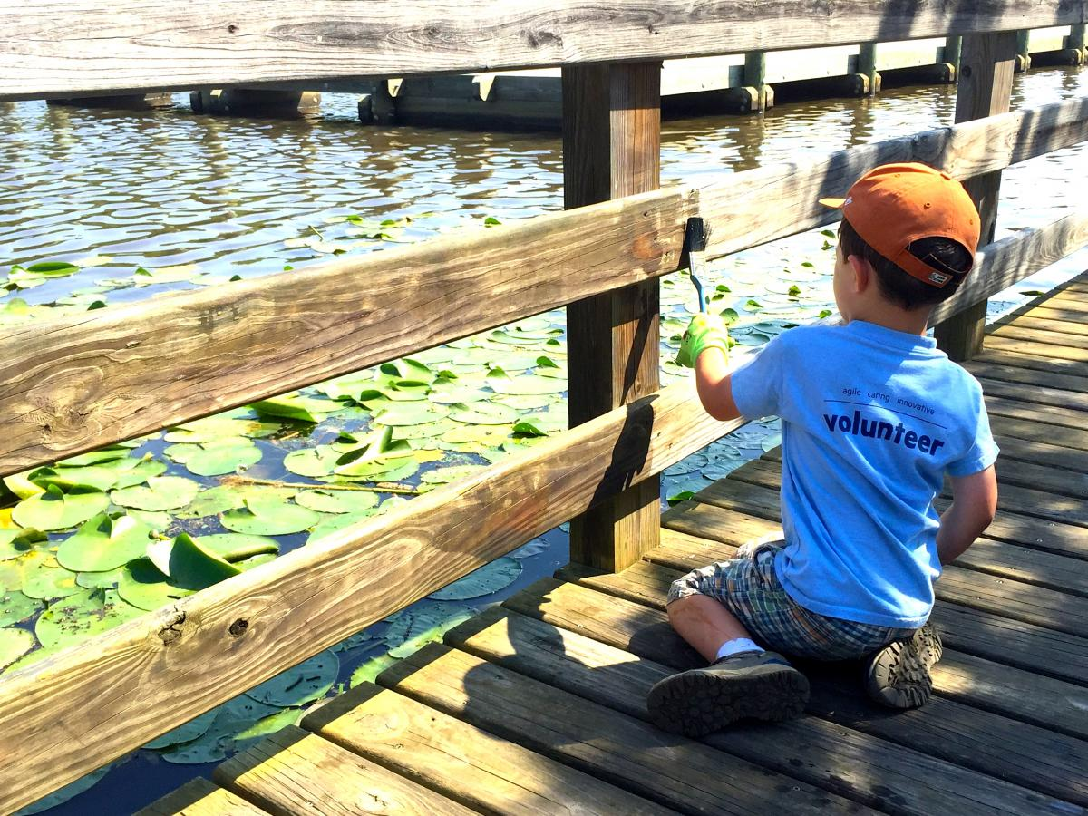 5-year-old volunteer Liam pitches in to help paint the boardwalk