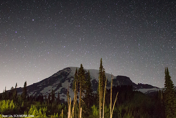 View of the Starry Night Sky from SCA Mount Rainier Crew