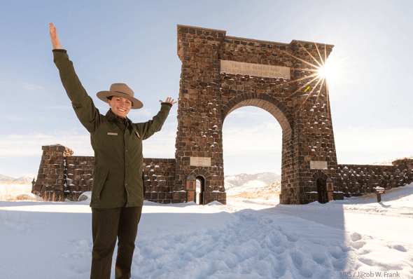 Park Ranger at Roosevelt Arch, Yellowstone National Park, Photo by NPS, Jacob W. Frank