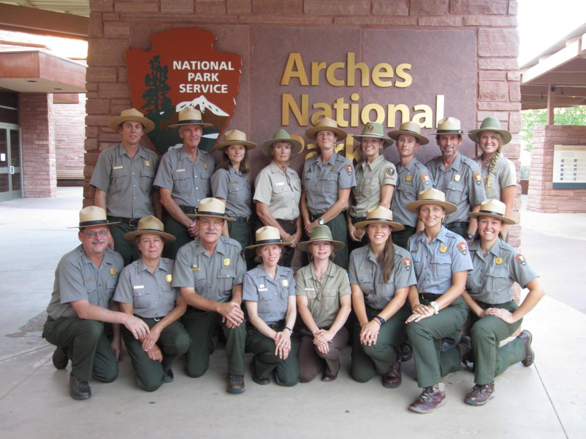 The team of Interpretive Rangers that SCA alum Lauren Ray worked with at Arches National Park