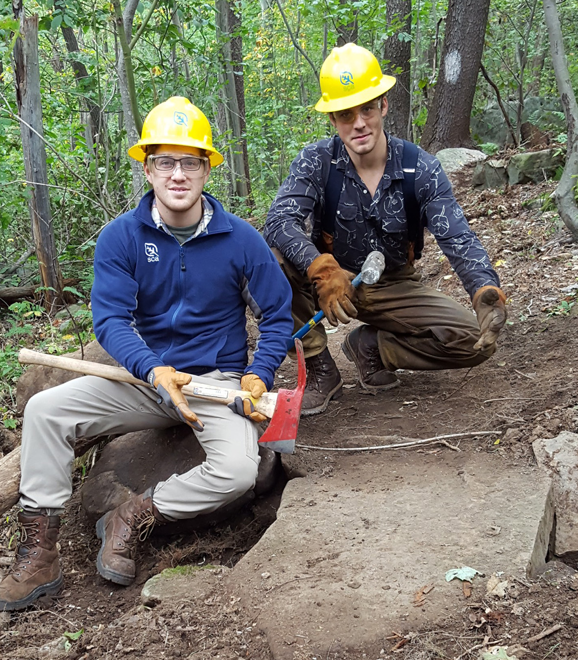Caleb (right) with one of his SCA Leader crewmates undertaking major trail work on the Potomac Heritage National Trail in Pennsylvania's Laurel highlands.