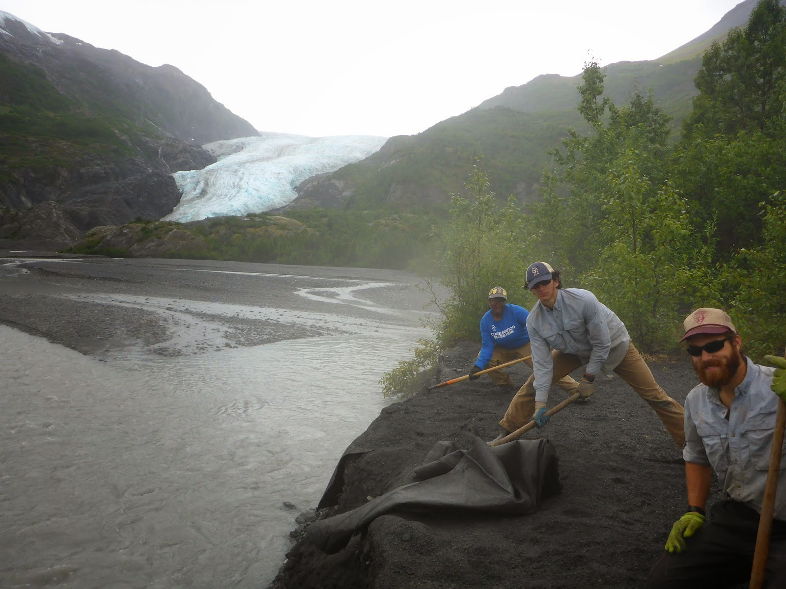 Manual Labor And An Amazing View A Typical Day On SCA Alaska Corps Team Heres 3 Of Us Taking Out Old Washed Trail In Kenai Fjords National