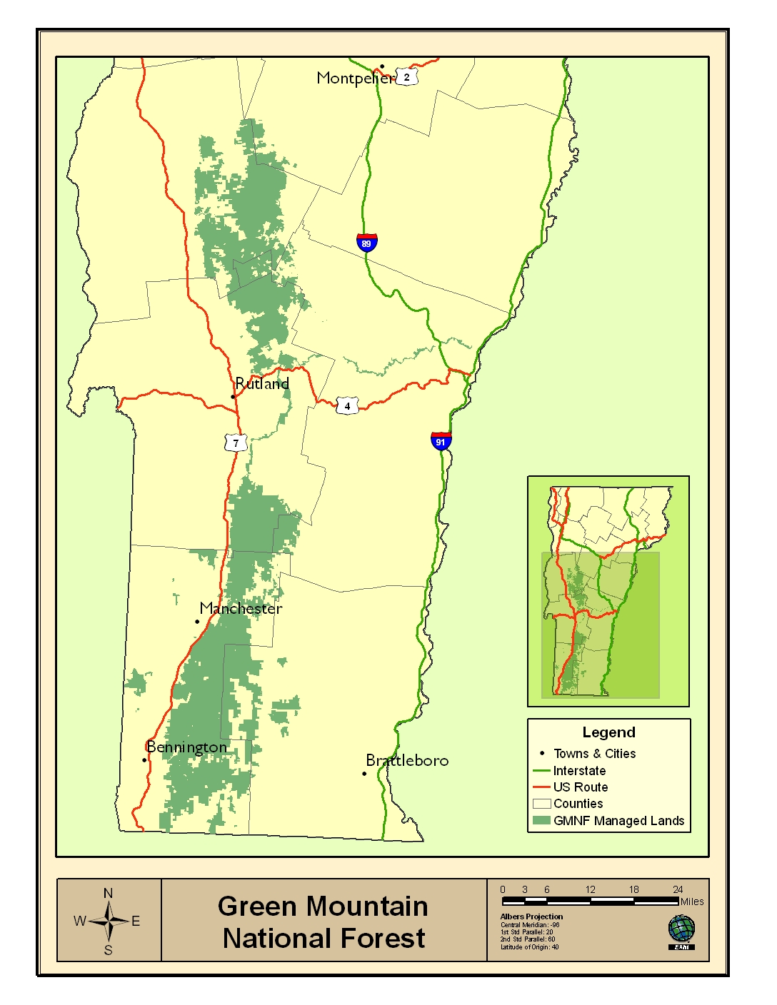 Green Mountain National Forest The Student Conservation Association - Map of us national forest