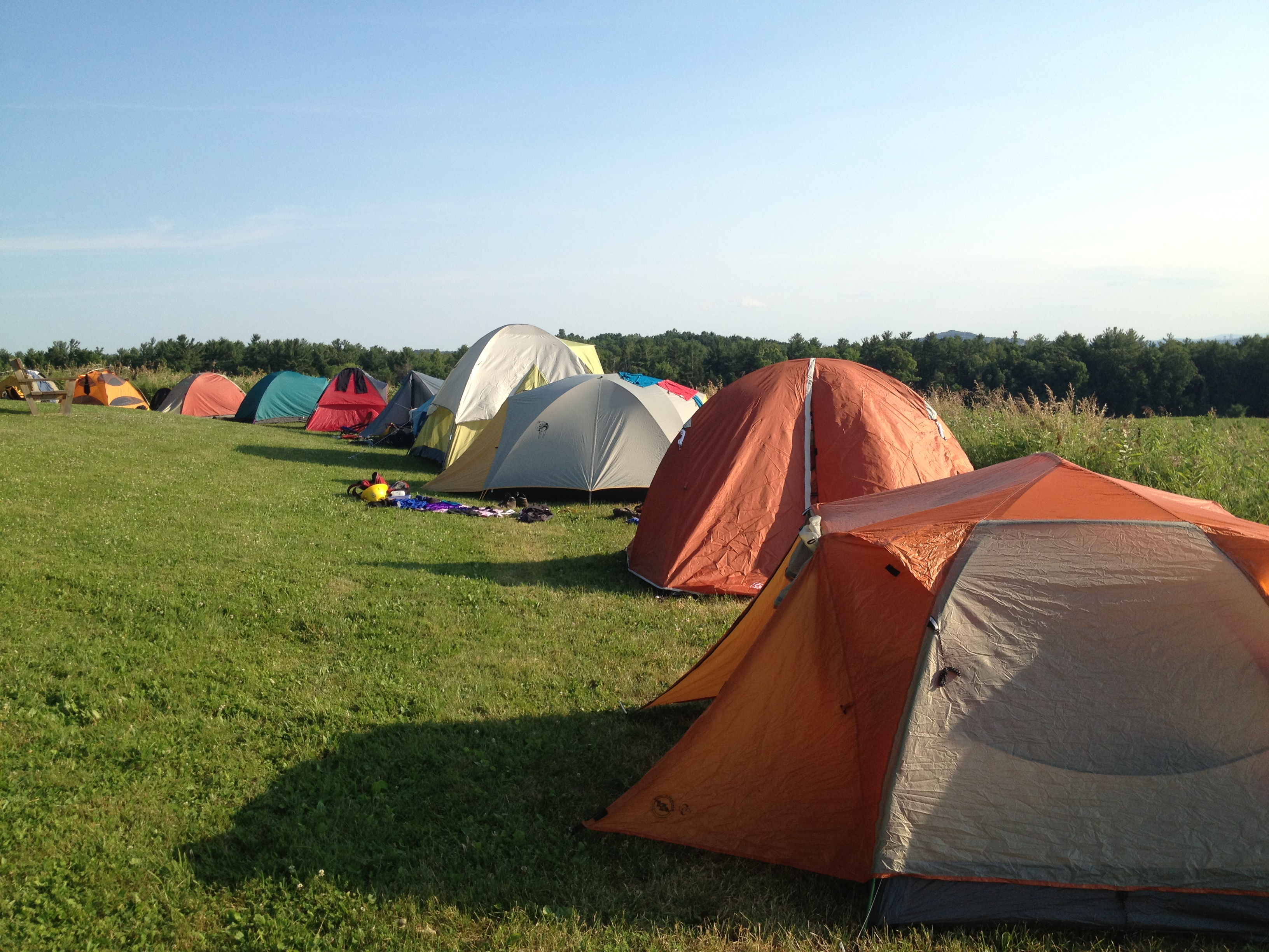 One of many lines of tents & CT Corps meets Hudson Valley | The Student Conservation Association