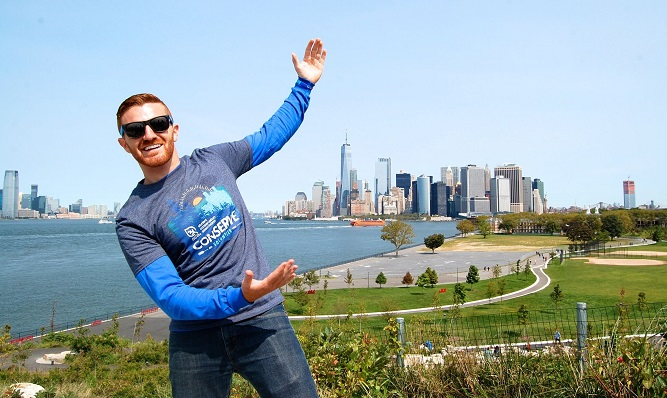 Rob with a beautiful city in the background.