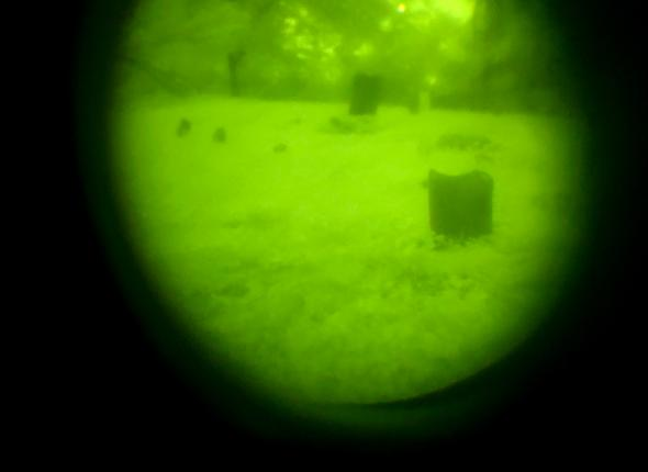 Night vision view of cemetery