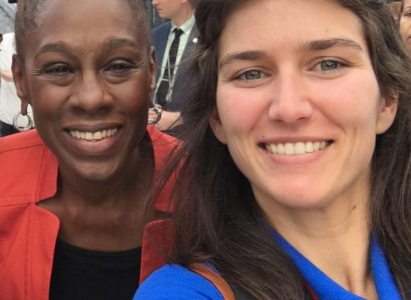 NYC First Lady Chirlane McCray and Intern Miller Bradford at opening of Statue of Liberty museum