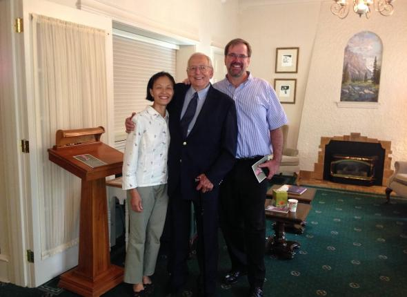 Chuck Barnosky in 2013, flanked by former 1974 Merck crew members Karen Lau and Paul McQuade