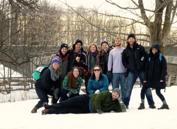 SCA Excelsior Corps members camp out in the snow