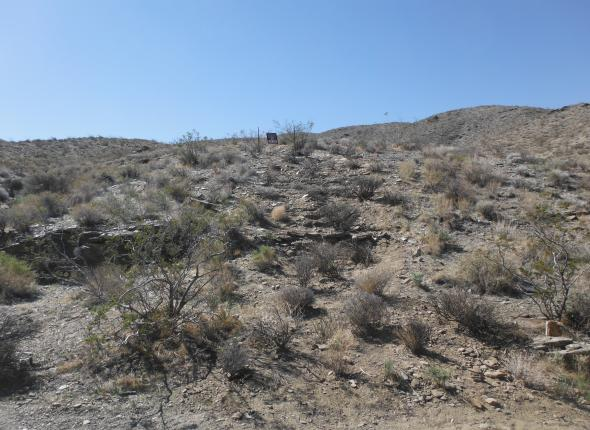 In the center of this photo is the fake rock outcrop constructed by the crew as part of their restoration.