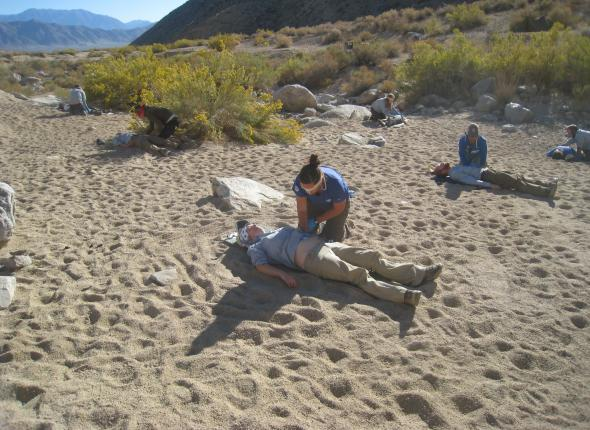 Wilderness First Responders learn how to assess a patient without benefit of vision.