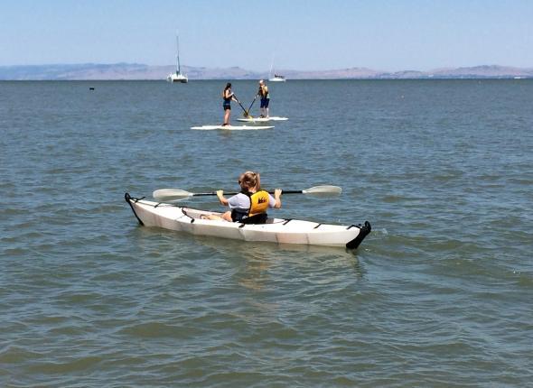 Testing out a folding kayak