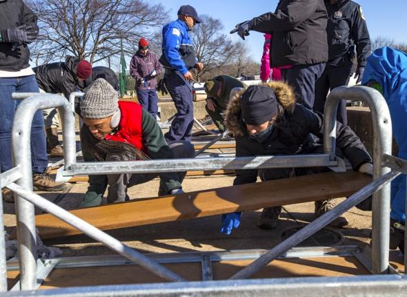 SCA youth volunteers build picnic tables at Anacostia Park