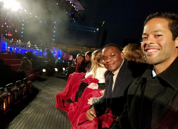 Dylan (right) in front row with the Obamas and others at the National Christmas Tree lighting
