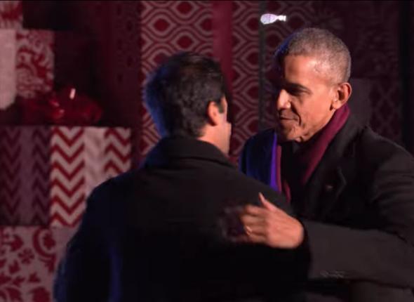President Obama applies the hug
