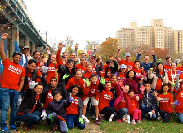 MUFG volunteers gather for service on Randall's Island NYC