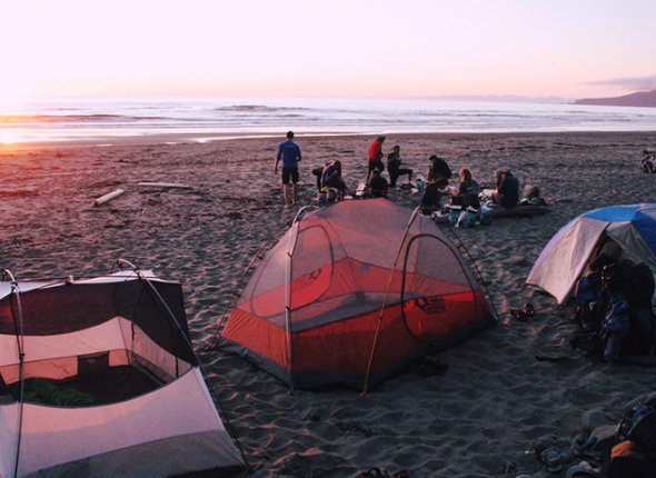 Camp on Shi Shi Beach by Bre Jané