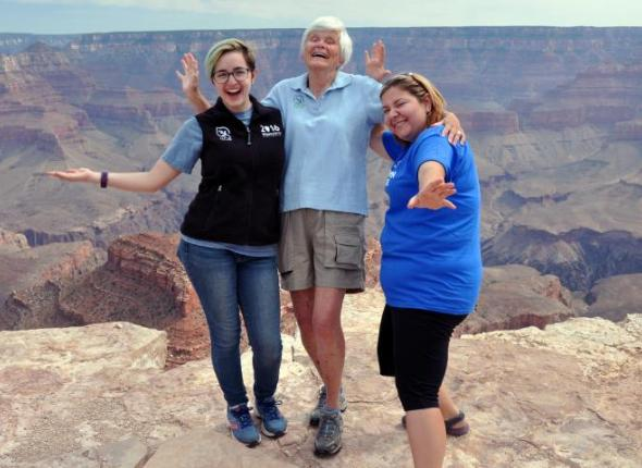Jamie, Liz and Sarah rockin' it on the rocks at Grand Canyon