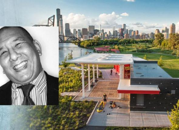 SCA Board member Ernest C. Wong (inset) and Ping Tom Memorial Park in Chicago