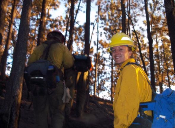 Corps member mopping up at Upper Reservoir Fire