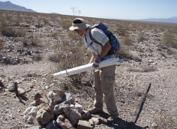 Matt demonstrating pole pulling technique in the field