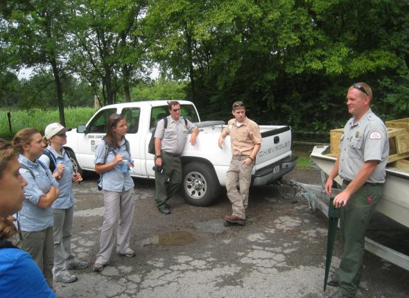 Ranger Allen Earhart and his captive audience