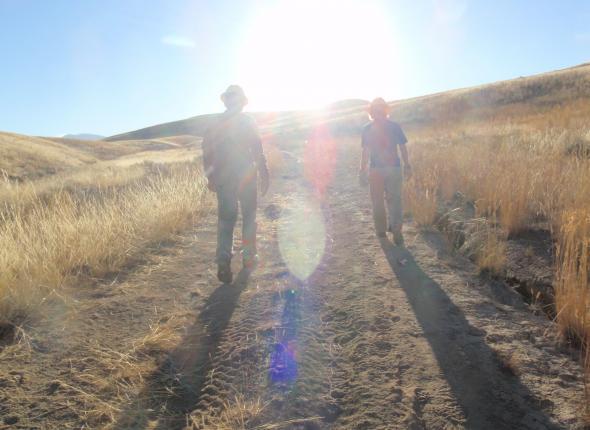 Dan and John walking a route
