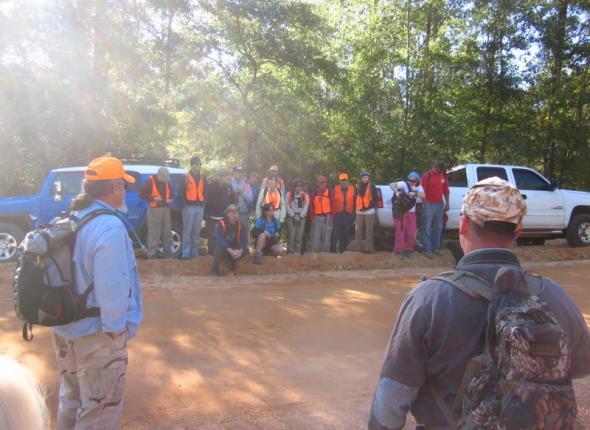 Pine Log Gathering hiking group about to depart