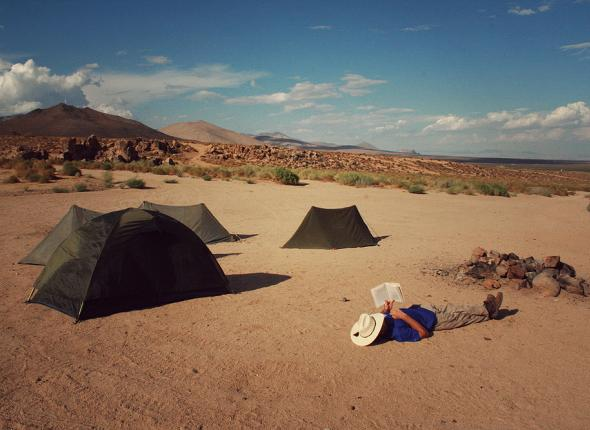 Peter relaxing at camp