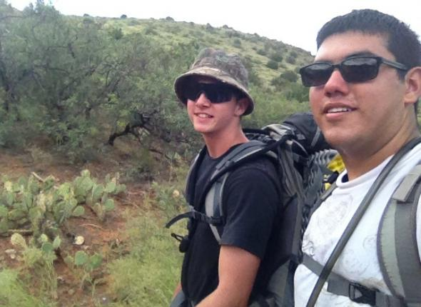 clay and andrew hiking along