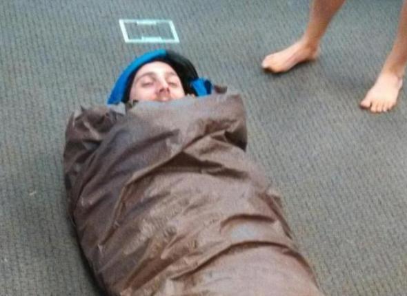 caleb in a hypo wrap