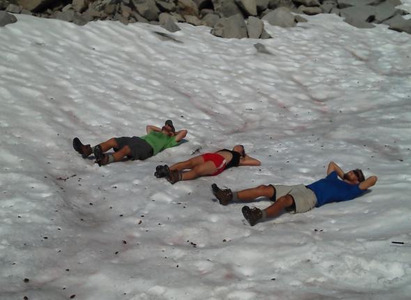 suntanning in the snow