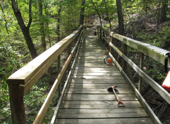 The repaired pedestrian bridge on the Overlook Trail of Tenkiller Ferry Lake.