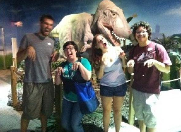 The team visited the dinosaur exhibit at the Catawba Science Center in Hickory.