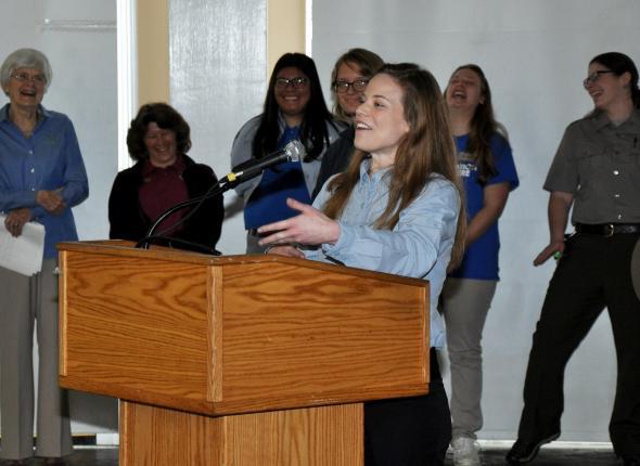 Intern Jenna Rockett addresses the GCA gathering