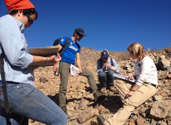 Carrie from BLM teaching the crew about desert plants