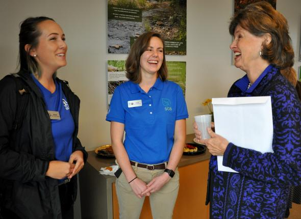 Interns Rachel Wehr and Sarah Pritchett with former SCA board member Joan Murphy