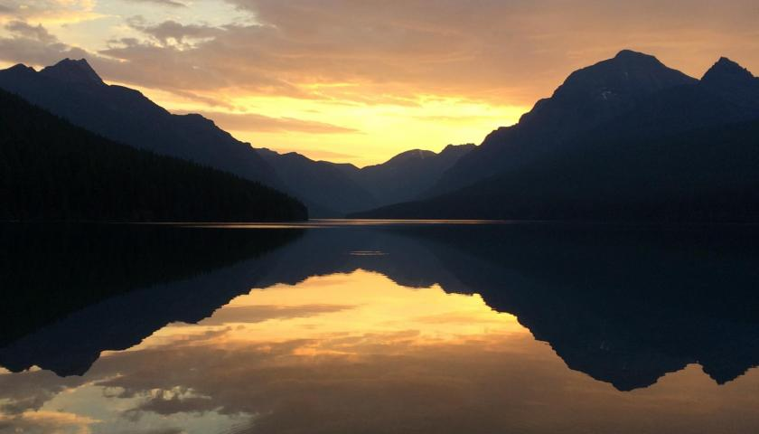 Glacier National Park Sunrise at Bowman Lake by Chris Rowland