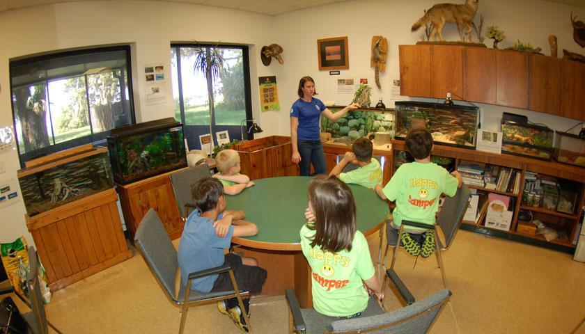SCA Intern Jennifer Bright teaches conservation to children at the Jacksonville Naval Base