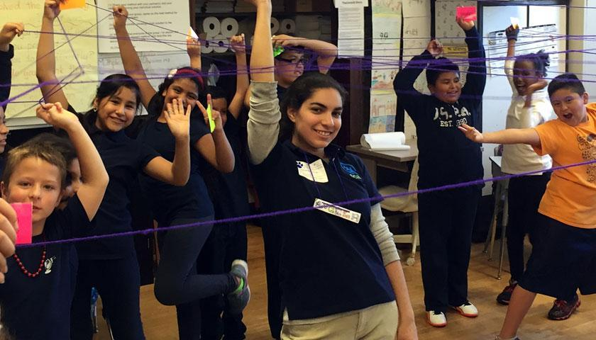 Young Students at Chicagoland doing an exercise with SCA's Urban Treehouse program