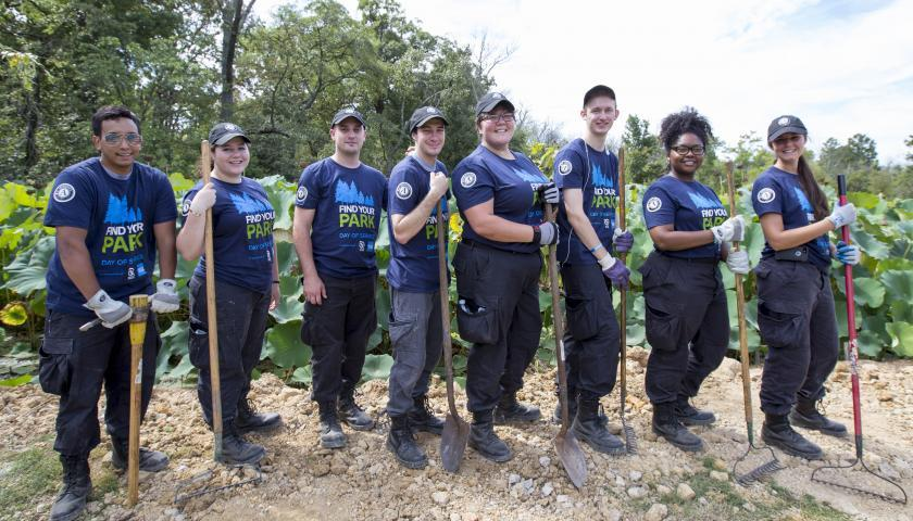 FEMA Corps Team Blue 3 conducting erosion repair at SCA's Find Your Park 9/11 Day of Service & Remembrance at Kenilworth Aquatic Gardens.