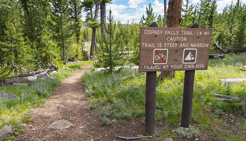 Osprey Falls Trailhead at Yellowstone National Park by Jacob W. Frank, NPS