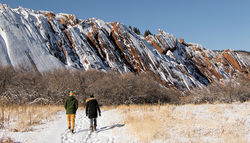 Hikers at Roxborough State Park in Colorado.