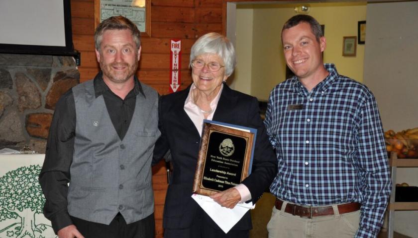 Liz Putnam with NYSOEA President Tim Stanley and SCA Hudson Valley Corps Program Director Josh Hunn