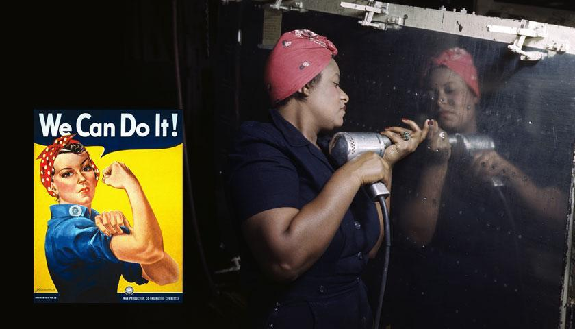 The iconic Rosie the Riveter poster alongside a real Rosie at work in Nashville 1943