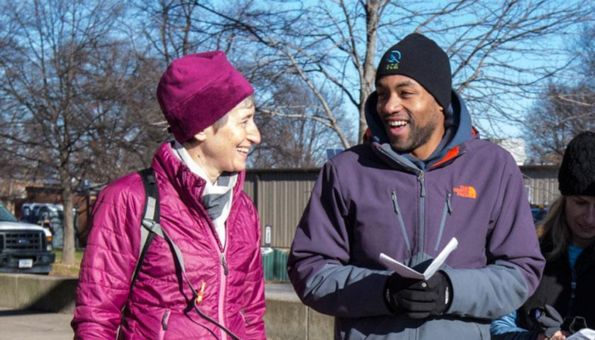 US Secretary of the Interior Sally Jewell with SCA Alum Roland Richardson at SCA's Find Your Park Day of Service at Anacostia Park in Washington, DC, in memory of Dr. Martin Luther King Jr., January 18, 2016