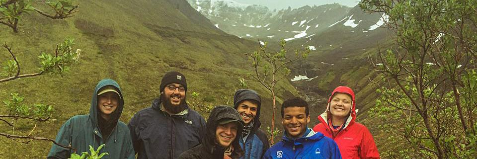 Members of SCA's Alaska Corps Team braving inclement weather.